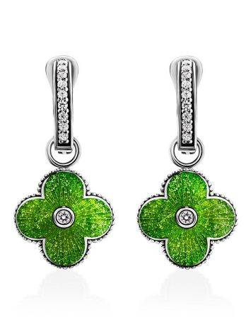 Silver Earrings With Enamel Clover Shaped Dangles The Heritage, image
