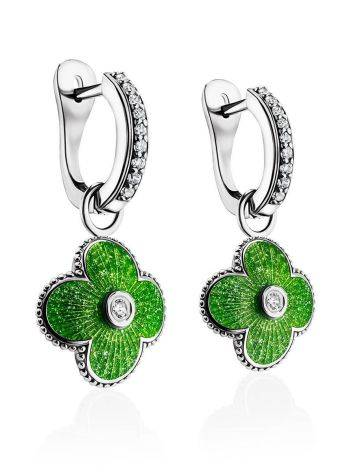 Silver Earrings With Enamel Clover Shaped Dangles The Heritage, image , picture 3