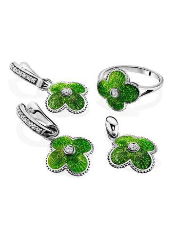 Silver Earrings With Enamel Clover Shaped Dangles The Heritage, image , picture 4