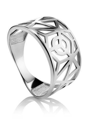 Laced Silver Band Ring The Sacral, Ring Size: 6.5 / 17, image