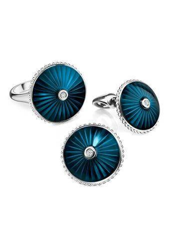 Round Silver Studs With Enamel And Diamonds The Heritage, image , picture 3