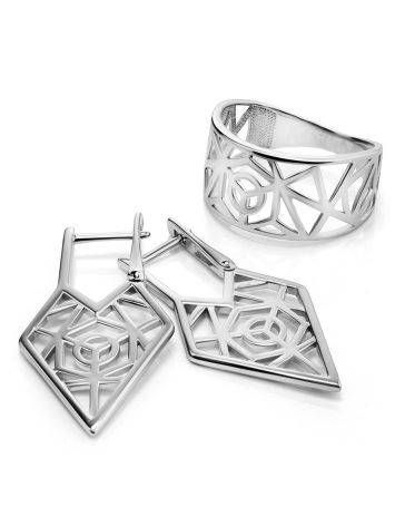 Geometric Laced Silver Earrings The Sacral, image , picture 4