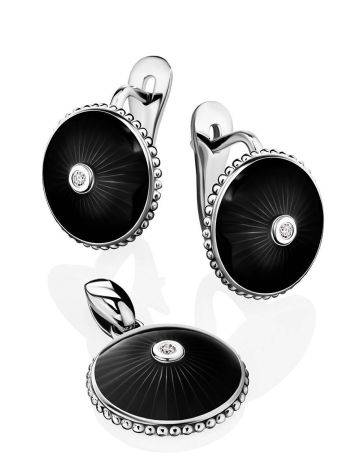 Black Enamel Round Earrings With Diamonds The Heritage, image , picture 3