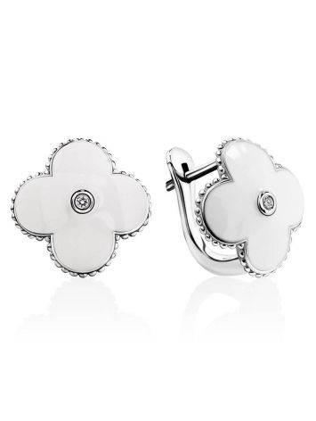 White Enamel Floral Earrings With Diamonds The Heritage, image