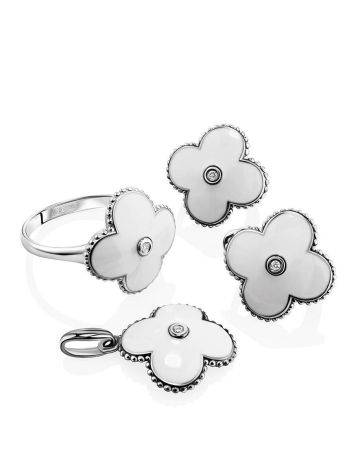 White Enamel Floral Earrings With Diamonds The Heritage, image , picture 3