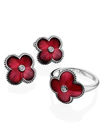 Red Enamel Floral Studs With Diamonds The Heritage, image , picture 3