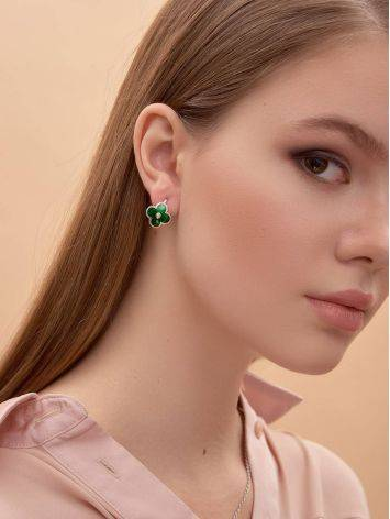 Floral Earrings With Green Enamel And Diamonds The Heritage, image , picture 4