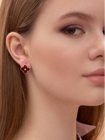Red Enamel Clover Shaped Earrings With Diamonds The Heritage, image , picture 3
