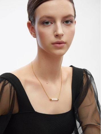 Gold Plated Bar Necklace With Crystals The Ice, image , picture 4