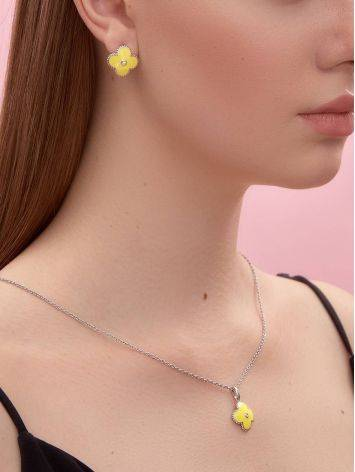 Silver Floral Earrings With Yellow Enamel And Diamonds The Heritage, image , picture 4