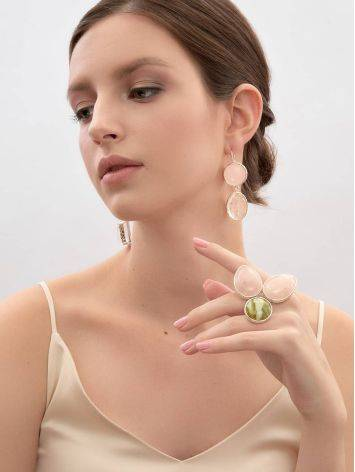 Statement Blush Pink Multi Stone Drop Earrings The Bella Terra, image , picture 6