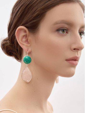 Statement Amazonite and Rose Quartz Drop Cocktail Earrings The Bella Terra, image , picture 3