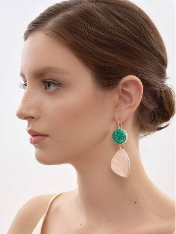 Statement Amazonite and Rose Quartz Drop Cocktail Earrings The Bella Terra, image , picture 5