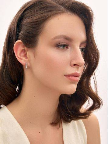 Refined Silver Climber Earrings With Crystals, image , picture 3