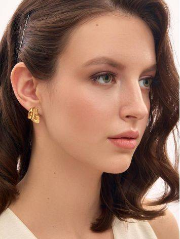 Designed Modern Gold Plated Silver Earrings The Liquid, image , picture 2