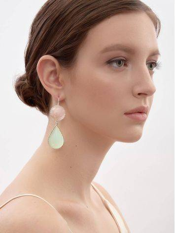 Gorgeous Rose Pink & Mint Green Drop Cocktail Earrings The Bella Terra, image , picture 4