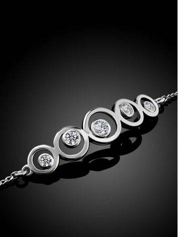 Silver Chain Bracelet With Geometric Central Part, image , picture 2