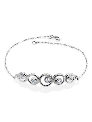 Silver Chain Bracelet With Geometric Central Part, image