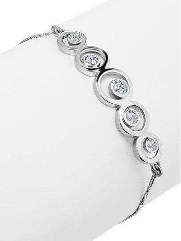 Silver Chain Bracelet With Geometric Central Part, image , picture 3