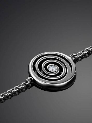 Amazing Silver Bracelet With Spiral Design Detail The Enigma Collection, Length: 19, image , picture 2