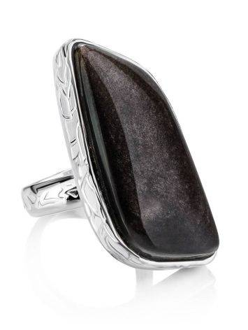 Abstract Black Stone Cocktail Ring The Bella Terra, Ring Size: 8 / 18, image