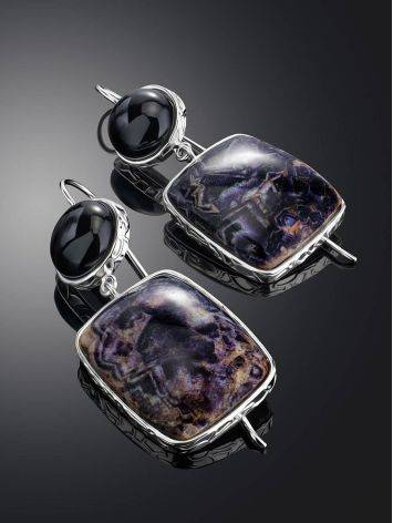 Purple Marble Effect Drop Cocktail Earrings The Bella Terra, image , picture 2