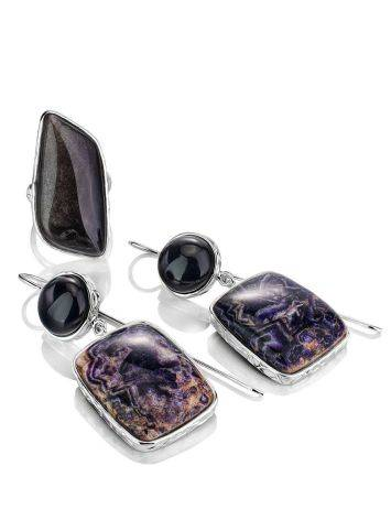 Purple Marble Effect Drop Cocktail Earrings The Bella Terra, image , picture 5