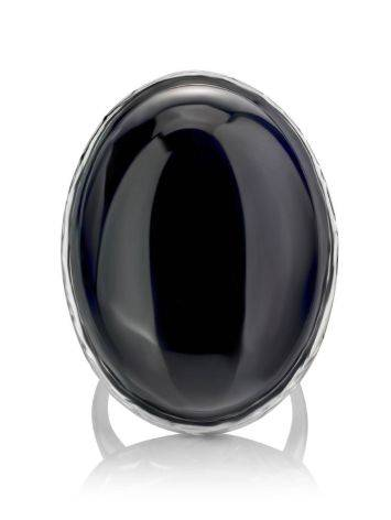 Dramatic Black Round Stone Cocktail Ring The Bella Terra, Ring Size: 8 / 18, image , picture 3