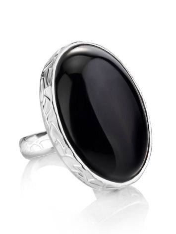 Dramatic Black Round Stone Cocktail Ring The Bella Terra, Ring Size: 8 / 18, image