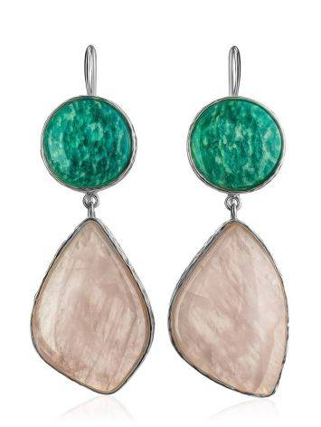 Statement Amazonite and Rose Quartz Drop Cocktail Earrings The Bella Terra, image , picture 4