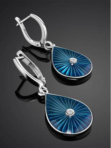 Silver Drop Shaped Dangles With Enamel And Diamonds The Heritage, image , picture 2