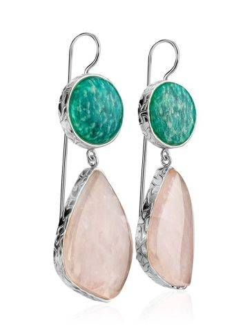 Statement Amazonite and Rose Quartz Drop Cocktail Earrings The Bella Terra, image