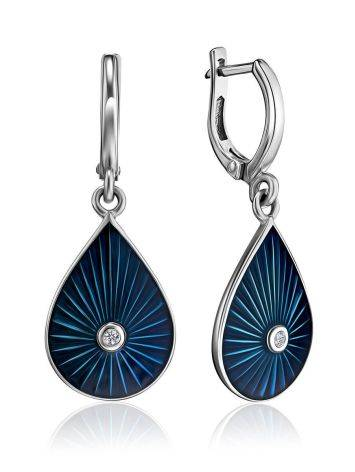 Silver Drop Shaped Dangles With Enamel And Diamonds The Heritage, image