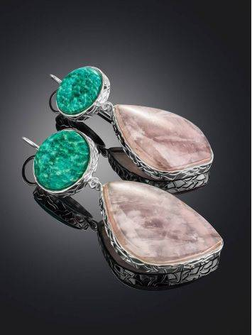 Statement Amazonite and Rose Quartz Drop Cocktail Earrings The Bella Terra, image , picture 2