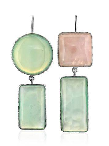 Cute Green & Pink Mismatched Drop Earrings The Bella Terra, image , picture 3