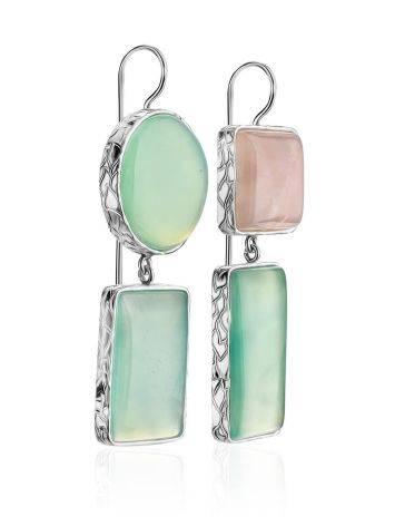 Cute Green & Pink Mismatched Drop Earrings The Bella Terra, image