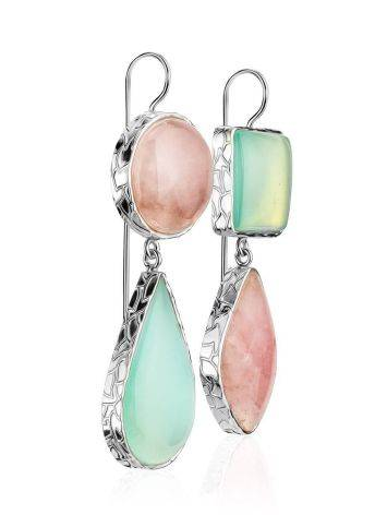 Gorgeous Rose Pink & Mint Green Drop Cocktail Earrings The Bella Terra, image