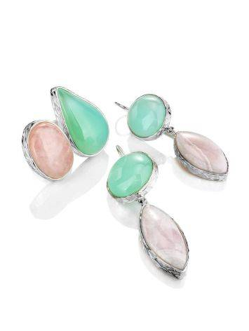 Statement Aqua Chalcedony and Pink Aragonite Drop Cocktail Earrings The Bella Terra, image , picture 4