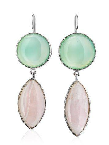 Statement Aqua Chalcedony and Pink Aragonite Drop Cocktail Earrings The Bella Terra, image , picture 3