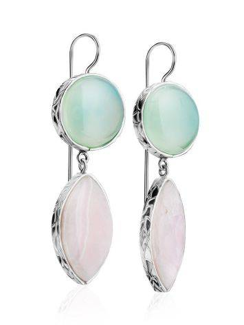 Statement Aqua Chalcedony and Pink Aragonite Drop Cocktail Earrings The Bella Terra, image