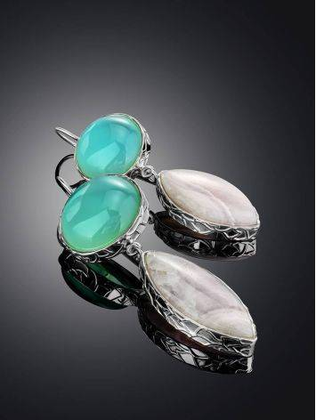 Statement Aqua Chalcedony and Pink Aragonite Drop Cocktail Earrings The Bella Terra, image , picture 2