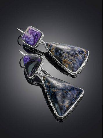 Purple Ombre Mismatched Drop Earrings The Bella Terra, image , picture 2