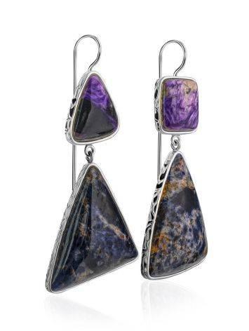 Purple Ombre Mismatched Drop Earrings The Bella Terra, image