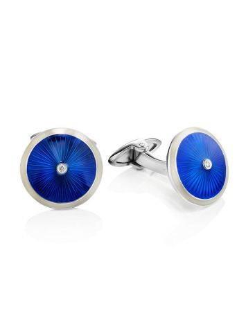 Lustrous Blue Enamel Cufflinks With Diamonds The Heritage, image