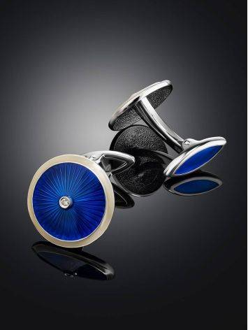 Lustrous Blue Enamel Cufflinks With Diamonds The Heritage, image , picture 2