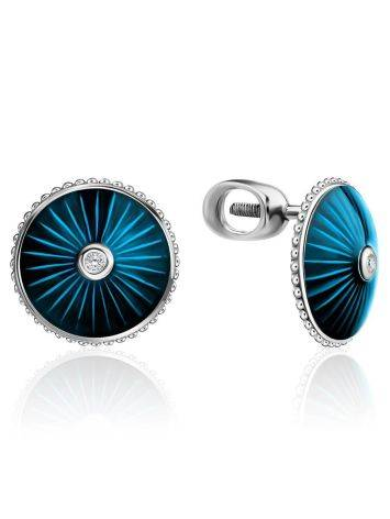 Round Silver Studs With Enamel And Diamonds The Heritage, image