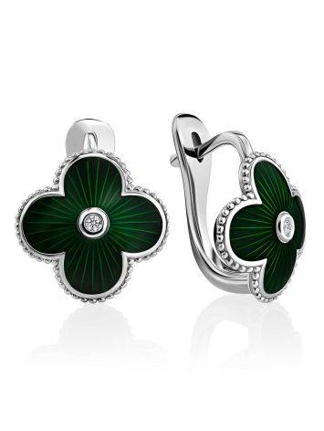 Floral Earrings With Green Enamel And Diamonds The Heritage, image
