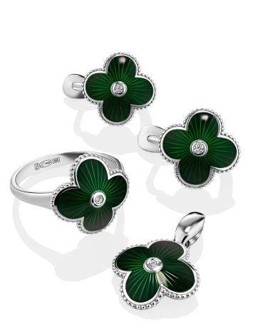 Floral Earrings With Green Enamel And Diamonds The Heritage, image , picture 3
