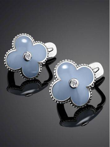 Chic Blue Enamel Earrings With Diamonds The Heritage, image , picture 2