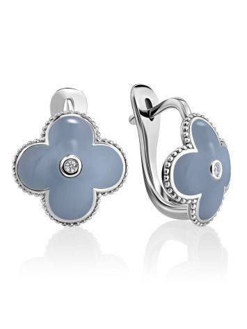 Chic Blue Enamel Earrings With Diamonds The Heritage, image
